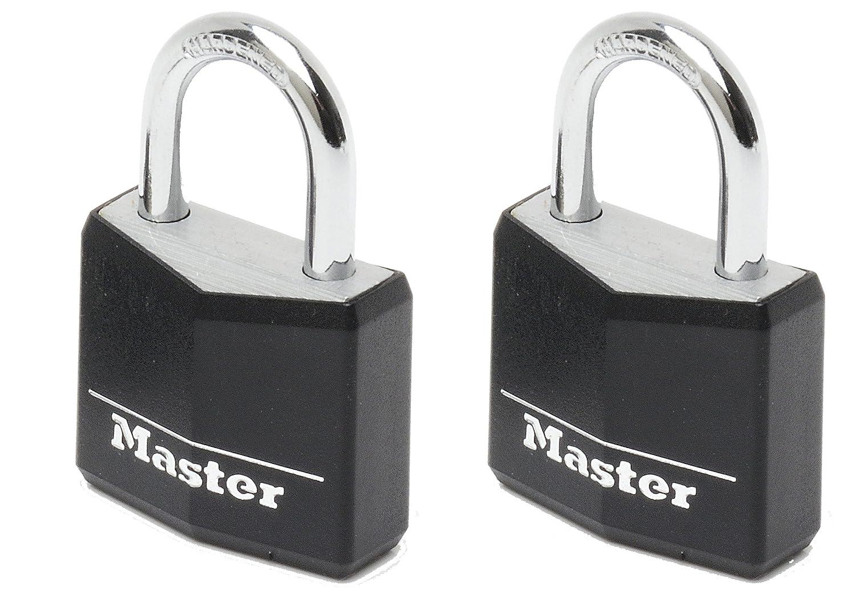 Master lock Luggage Lock 4 x Vinyl Covered Aluminium Padlocks Keyed Alike Black 9120EURQBLKNOP