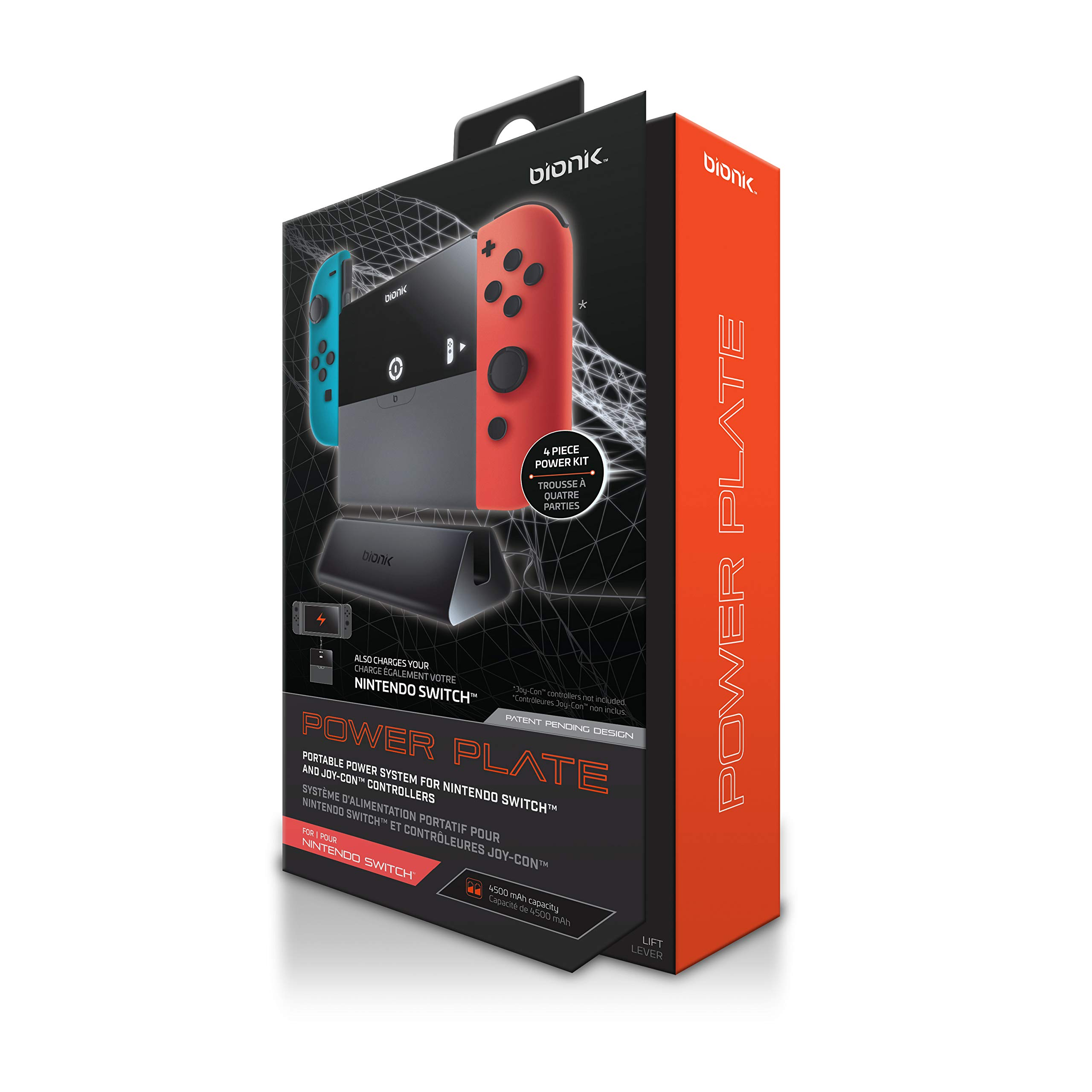 Bionik Power Plate Charging Grip: Compatible with Nintendo Switch, Slim 5500 mAh Battery Pack, Recharge Switch or 2 Joy…
