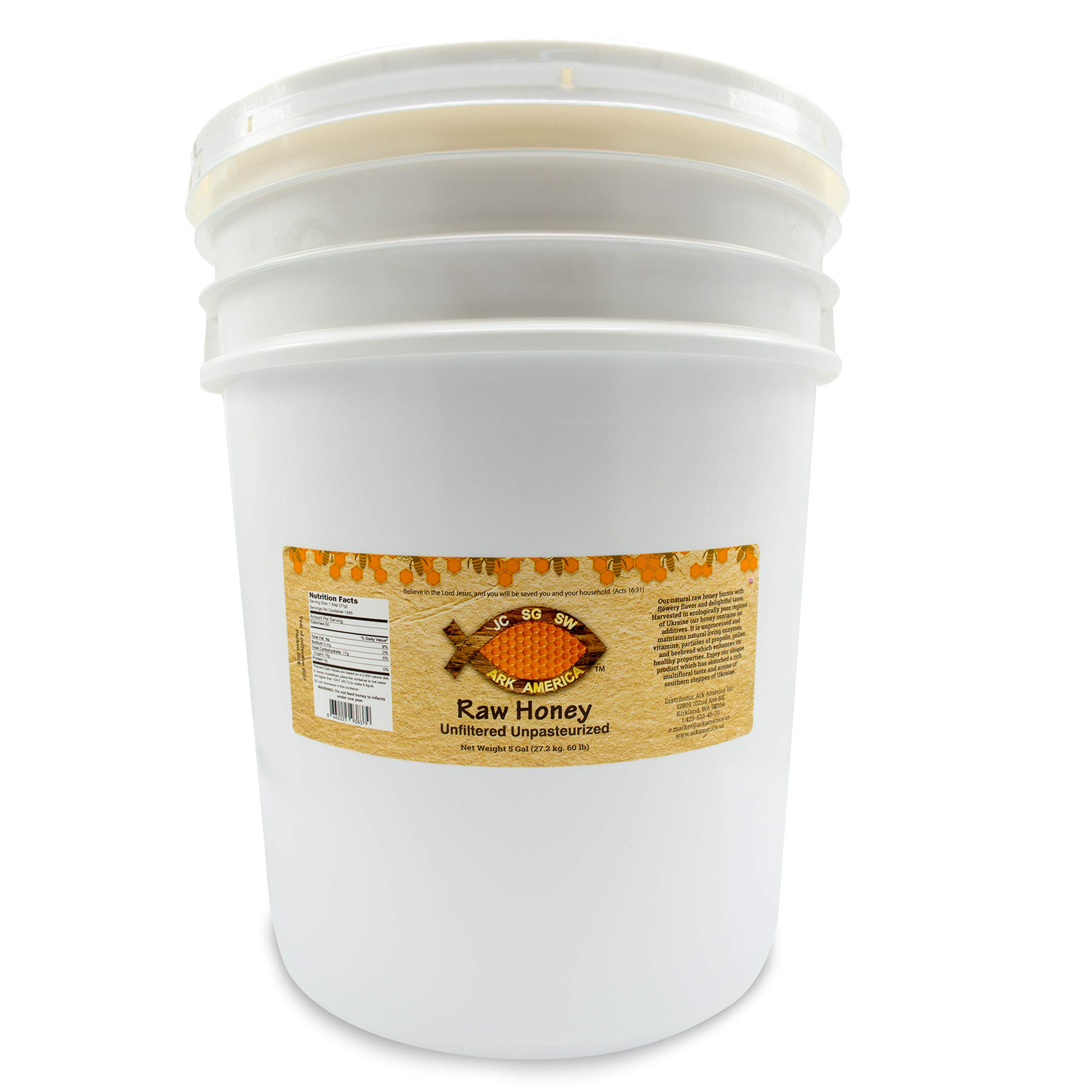 Raw Honey, Unfiltered, Unpasteurized 5 Gal (27.2 kg. 60 lb)(really real and natural)