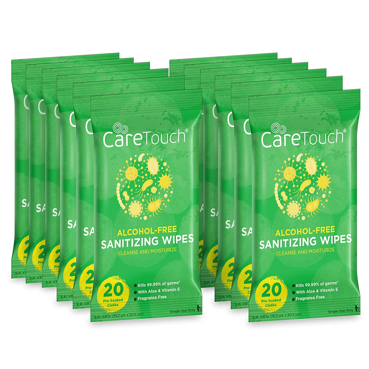 Care Touch Alcohol-Free Hand Sanitizing Wipes (12 Pouches) | 240 Antibacterial Moisturizing Sanitizing Wipes with Vitamin E + Aloe Vera for Babies and Adults | Made in the USA