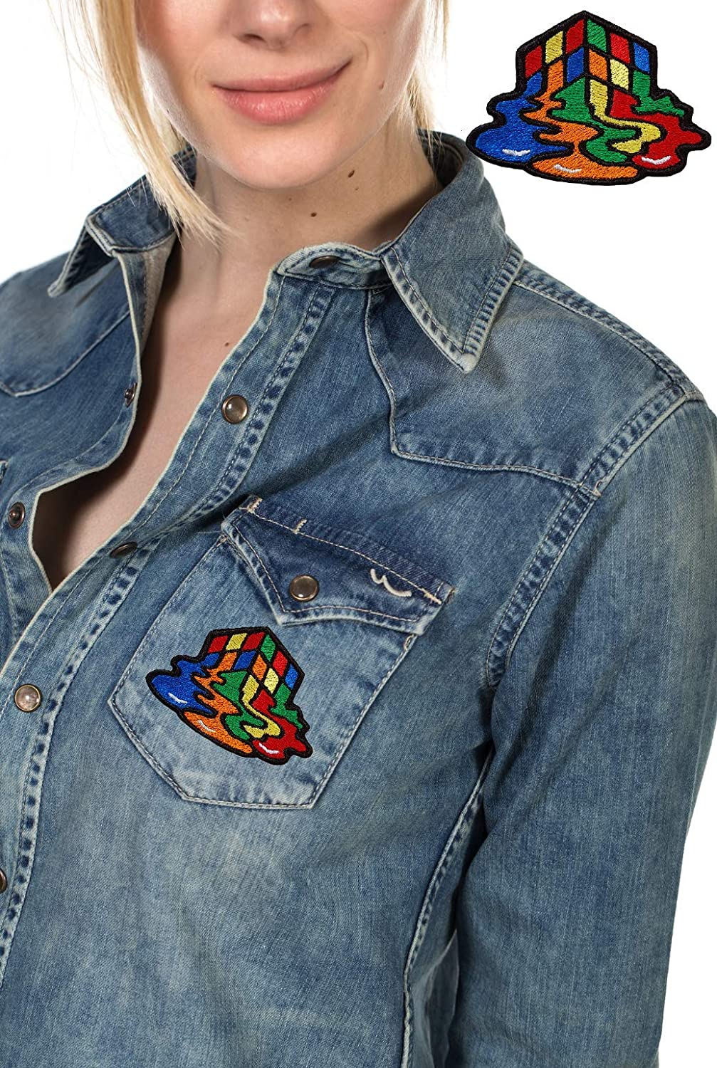 Melting Cube Patch Embroidered Iron On Patches Jacket Badge Jeans Applique Small