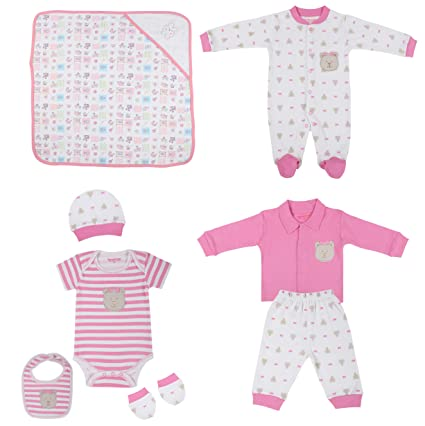 0e98318c5218 WONDERCHILD Pink   White Cotton Printed Gift set (Blanket Ropmer ...