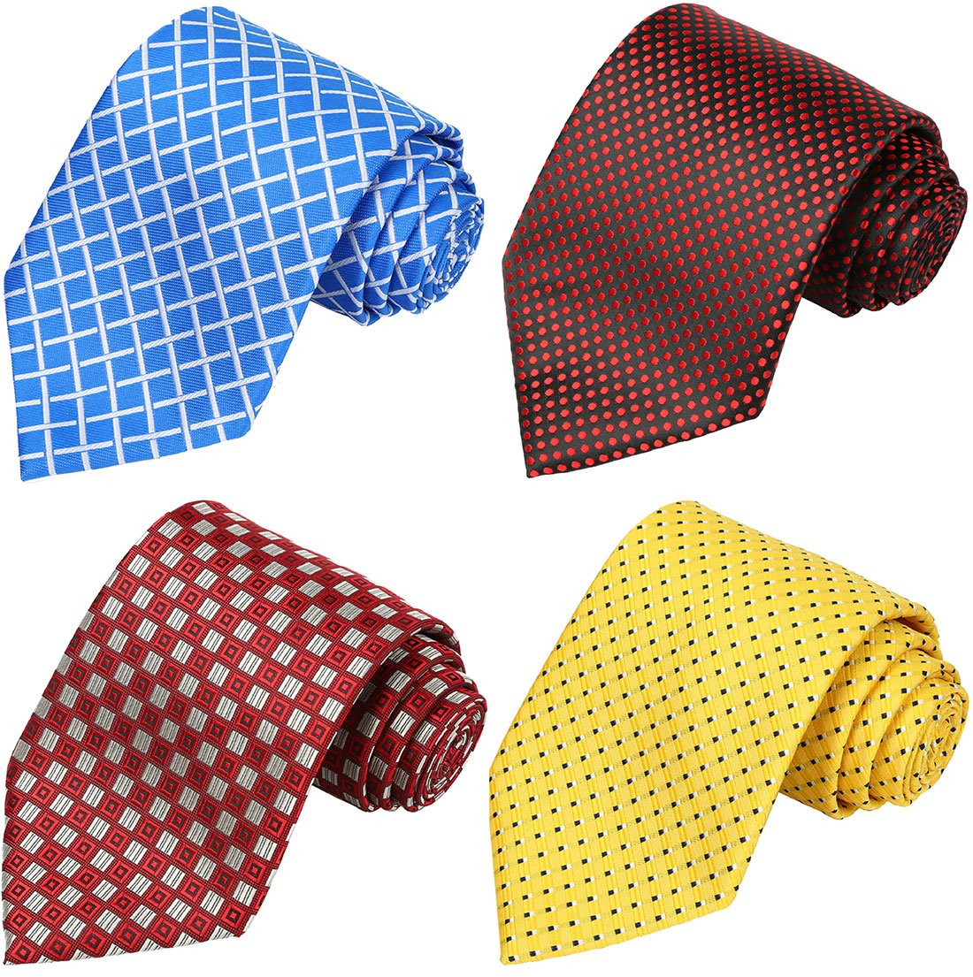 KissTies Set of 4 Extra long Ties 63'' XL Necktie Tall Tie + 1 Magnetic Boxes