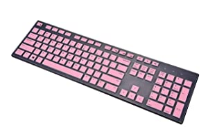 KeyCover - Keyboard Cover Compatible with Dell KM636 KB216 & Dell Optiplex 5250 3050 3240 5460 7450 7050 & Dell Inspiron AIO 3475/3670/3477 All-in one Desktop Keyboard - Pink