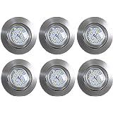 Set de 6 Spots ultra plats LED à encastrer/orientable/dimmable/incl. LED 5,5W/470lm/Nickel mat, set de 6, nickel mat, 5,5 watts 230 volts[Classe énergétique A+]