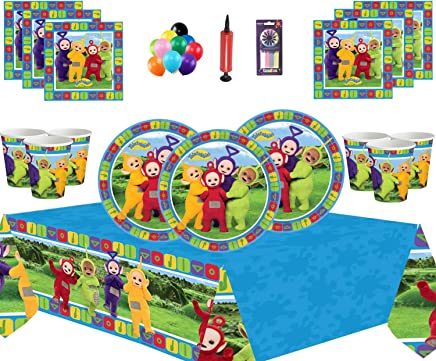 Teletubbies Party Supplies Kids Birthday Tableware 16 Guests Kit - Teletubbies Party Pack Plates Cups Napkins Tablecover - FREE BALLOONS PUMP CANDLES