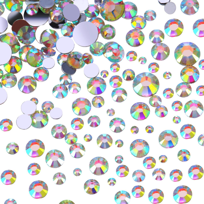 Diamantes de Flatback Gemas de Espalda Plana de Cristal Redondos, 4 Tamaños Mixtos, 800 Piezas