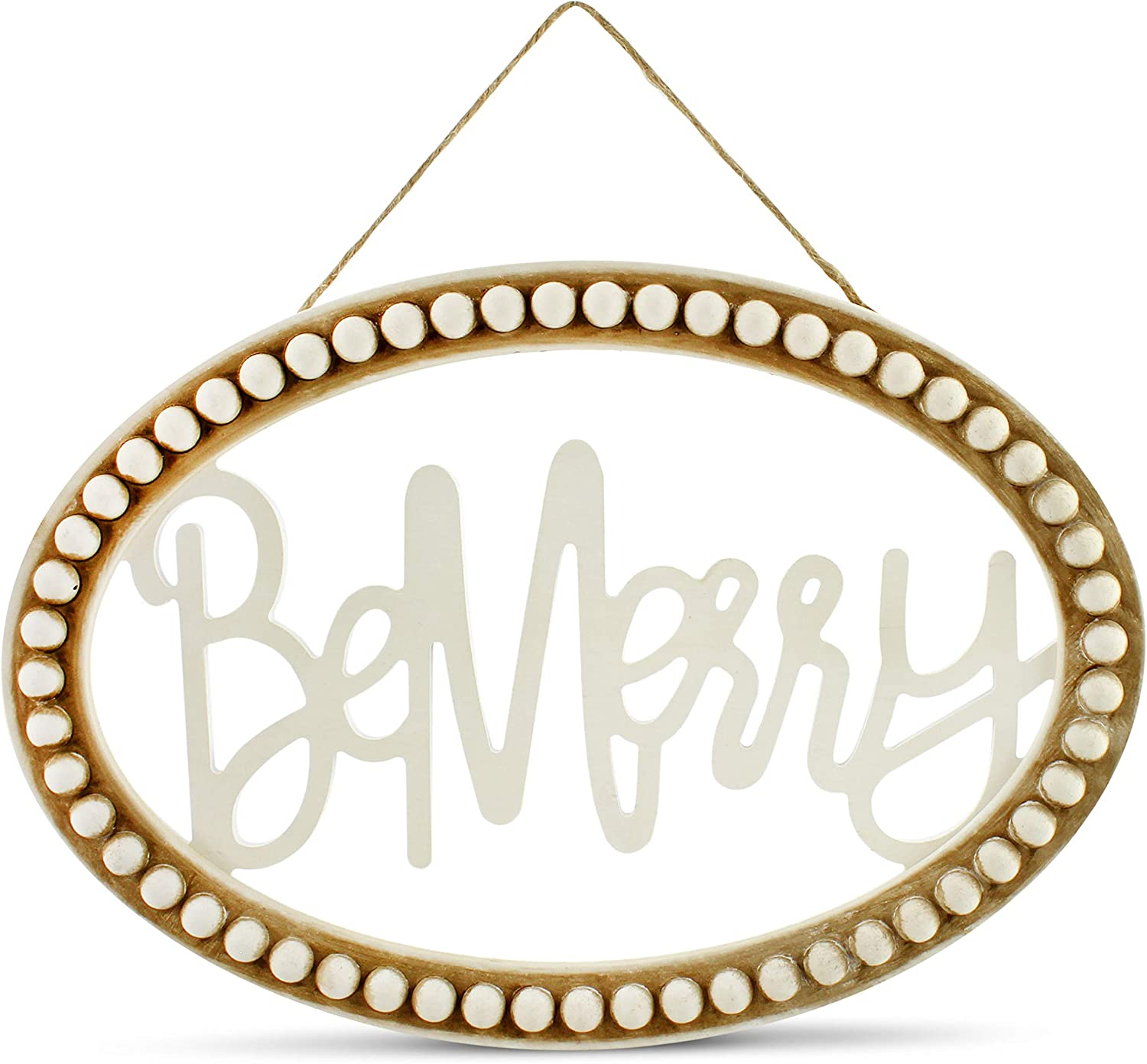 "AuldHome Beaded Wooden Christmas Sign, ""Be Merry"" Oval Wood Holiday Decor Hanging Sign"