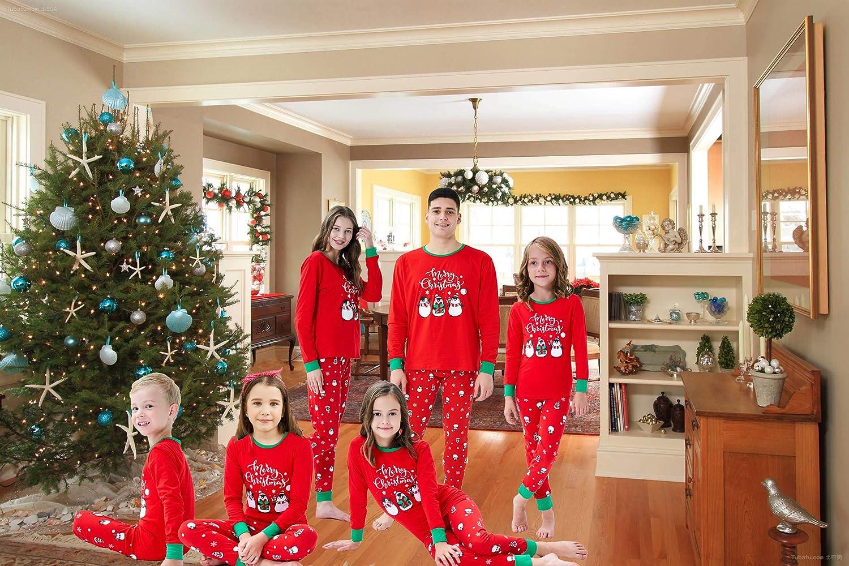 FEDULK Matching Family Pajamas Christmas Tree Print Striped Holiday Kids Sleepwear Sets