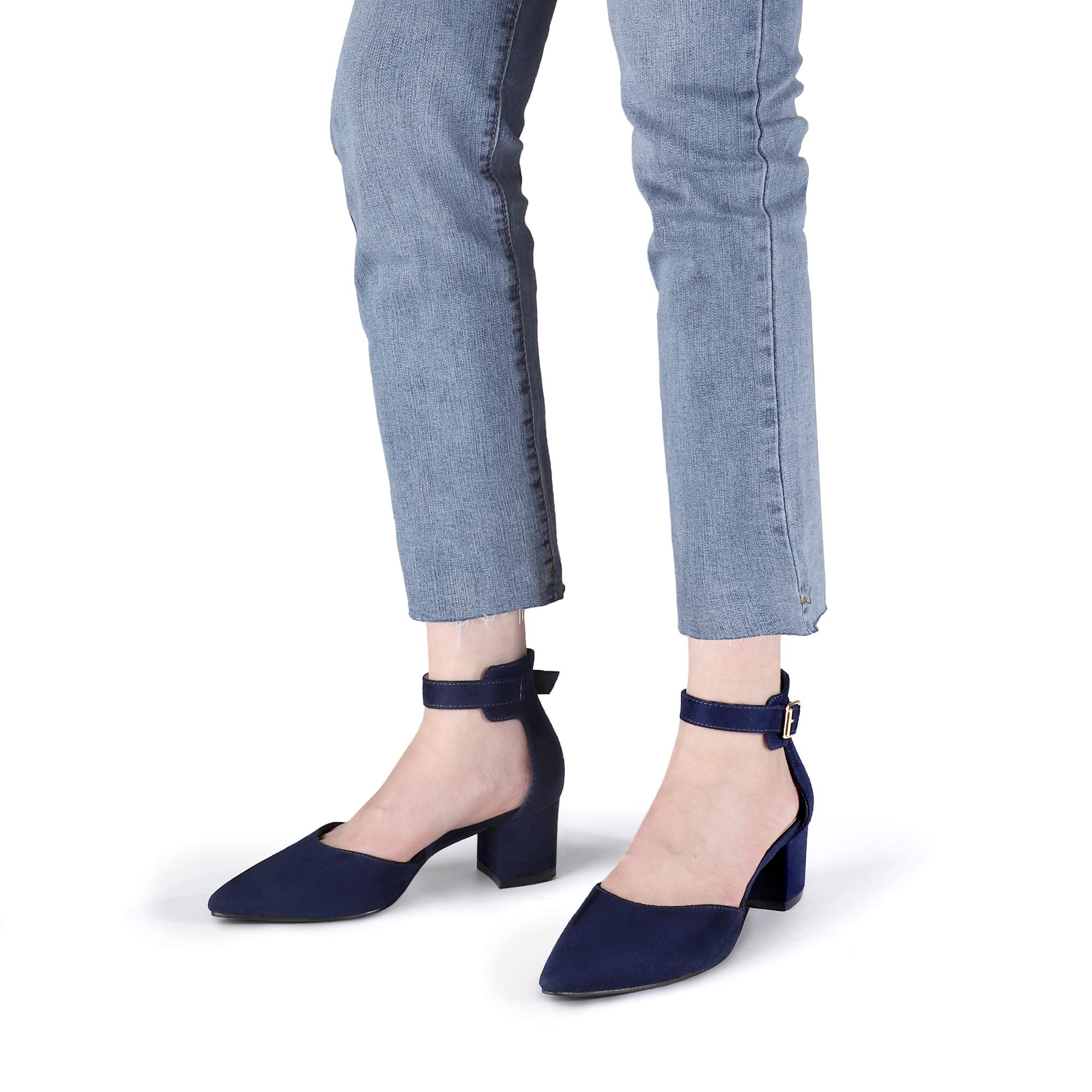 Pointed Toe Slip On Low Heels SHOWHOW Womens Dressy Color Block Pumps