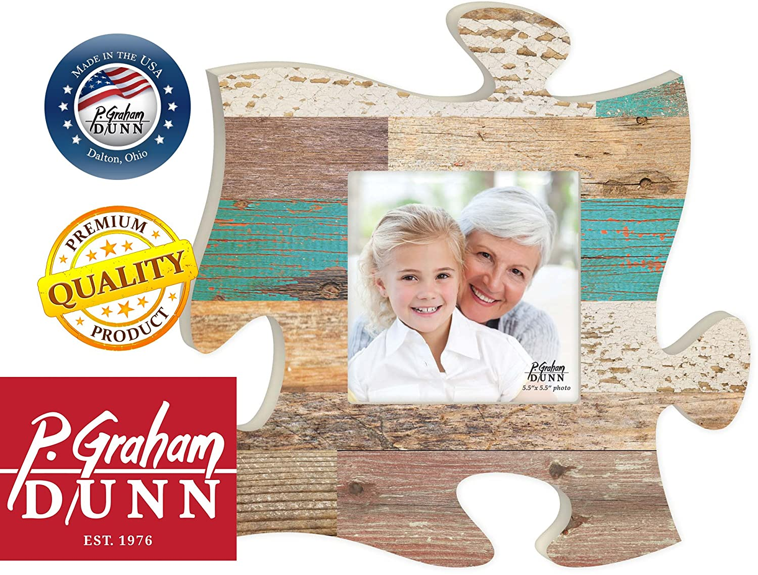 GRAHAM DUNN Teal Multicolor Distressed Wood Look 12 x 12 Wall Hanging Wood Puzzle Piece Photo Frame P
