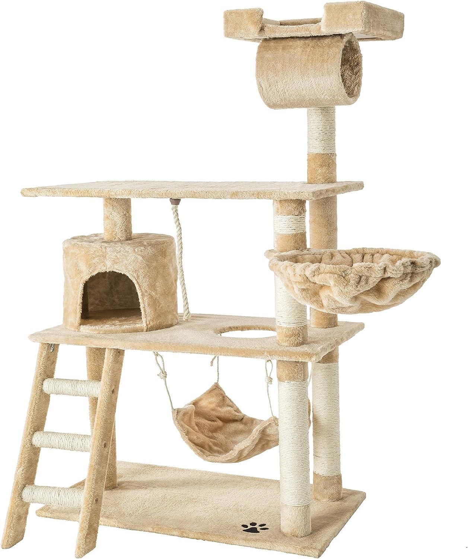 TecTake Rascador para Gatos Árbol para Gatos Sisal Juguetes 141 cm ...