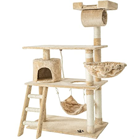 TecTake Rascador para Gatos Árbol para Gatos Sisal Juguetes 141 cm (Beige | no. 401854)