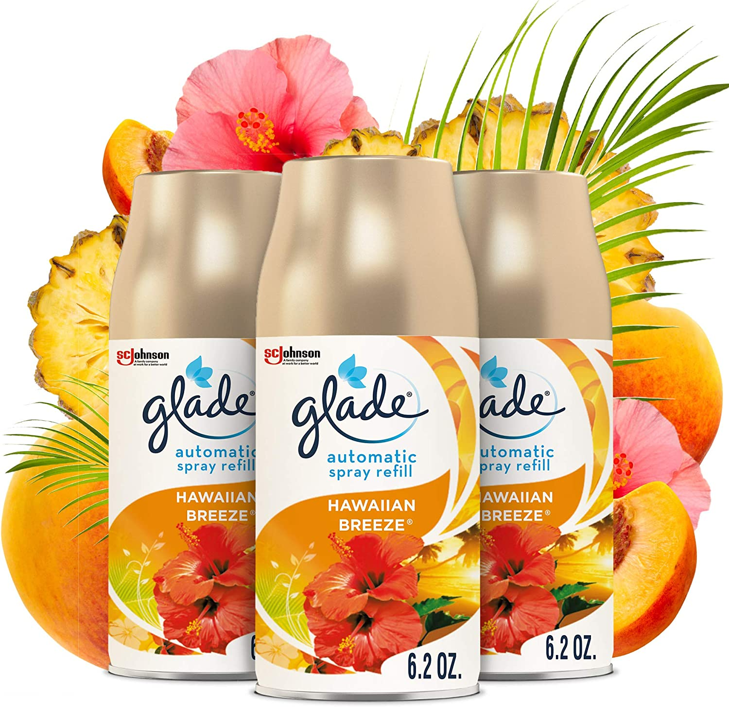 Glade Automatic Spray Refill, Air Freshener for Home and Bathroom, Hawaiian Breeze, 6.2 Oz, 3 Count
