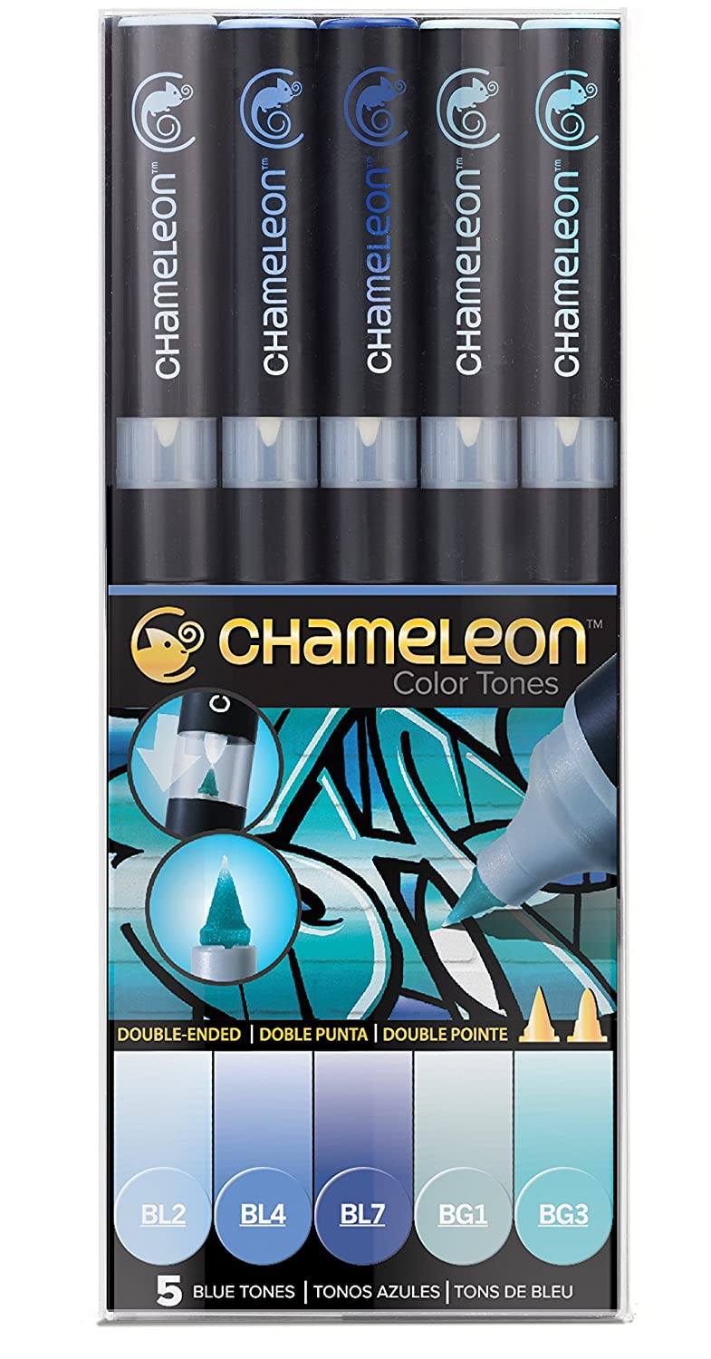 Chameleon Art Products 5 pennarelli permanenti a Base di Alcol Toni Blu, 22x2x2 CT0513