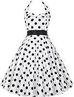 GRACE KARIN® Vestidos de algodón retro de los años 50 de los lunares de Halterneck de las mujeres