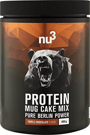 nu3 Mug Cake con Proteína | 400g de mezcla lista para microondas | Sabor triple chocolate ...