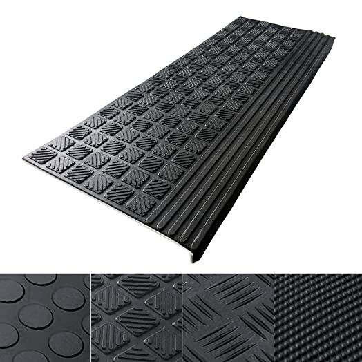 Etm® Set Of 5 Outdoor Rubber Non Slip Stair Treads, Diamond   0.8