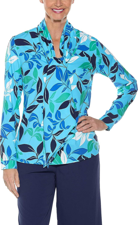 f6afc5a03a1e1a Amazon.com  Coolibar UPF 50+ Women s Chillon Blouse - Sun Protective (2X-  Ice Blue Tropical Island)  Clothing