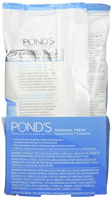 Ponds Wet Cleansing Towelettes, Original All Day Clean, 5 Count(pack of 3)