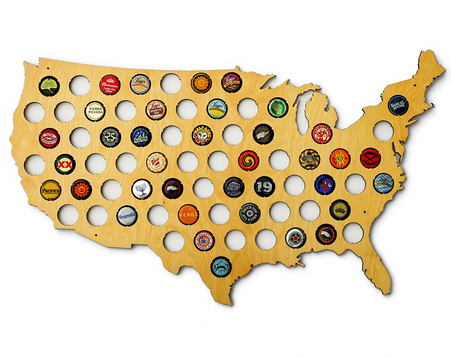 Amazoncom USA Beer Cap Map Ultra Detailed Glossy Wood Bottle - Us beer map wall art
