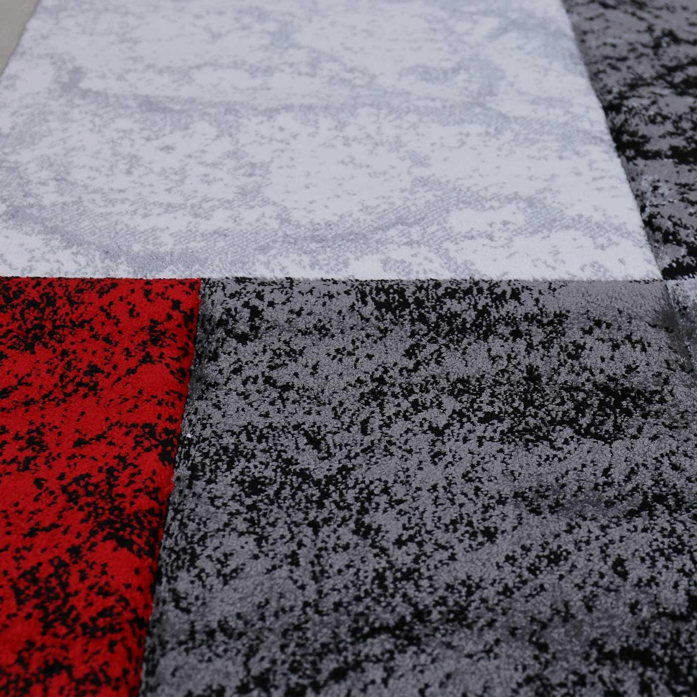 VIMODA Wohnzimmer Teppich Modern Schwarz Rot Grau Marmor Stein Stein Stein Optik Velours, Maße 120x170 cm B06WGSS1FM Teppiche ecfde8