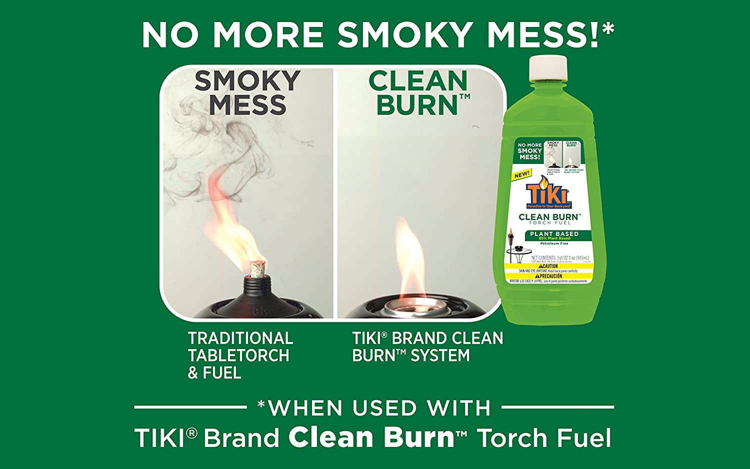 Tiki Brand Clean Burn Torch Fuel, No More Smoky Mess, (2) 32 Ounce Bottles 121615768