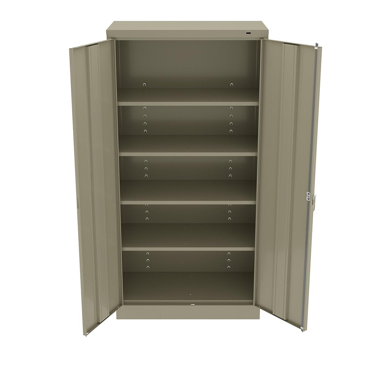"Tennsco 7224SD 7224 24 Gauge Steel Standard Welded Storage Cabinet, 4 Shelves, 200 lb. Capacity per Shelf, 36"" Width x 72"" Height x 24"" Depth, Sand"