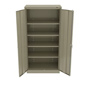 "Tennsco 7218SD 7218 24 Gauge Steel Standard Welded Storage Cabinet, 4 Shelves, 150 lb. Capacity per Shelf, 36"" Width x 72"" Height x 18"" Depth, Sand"