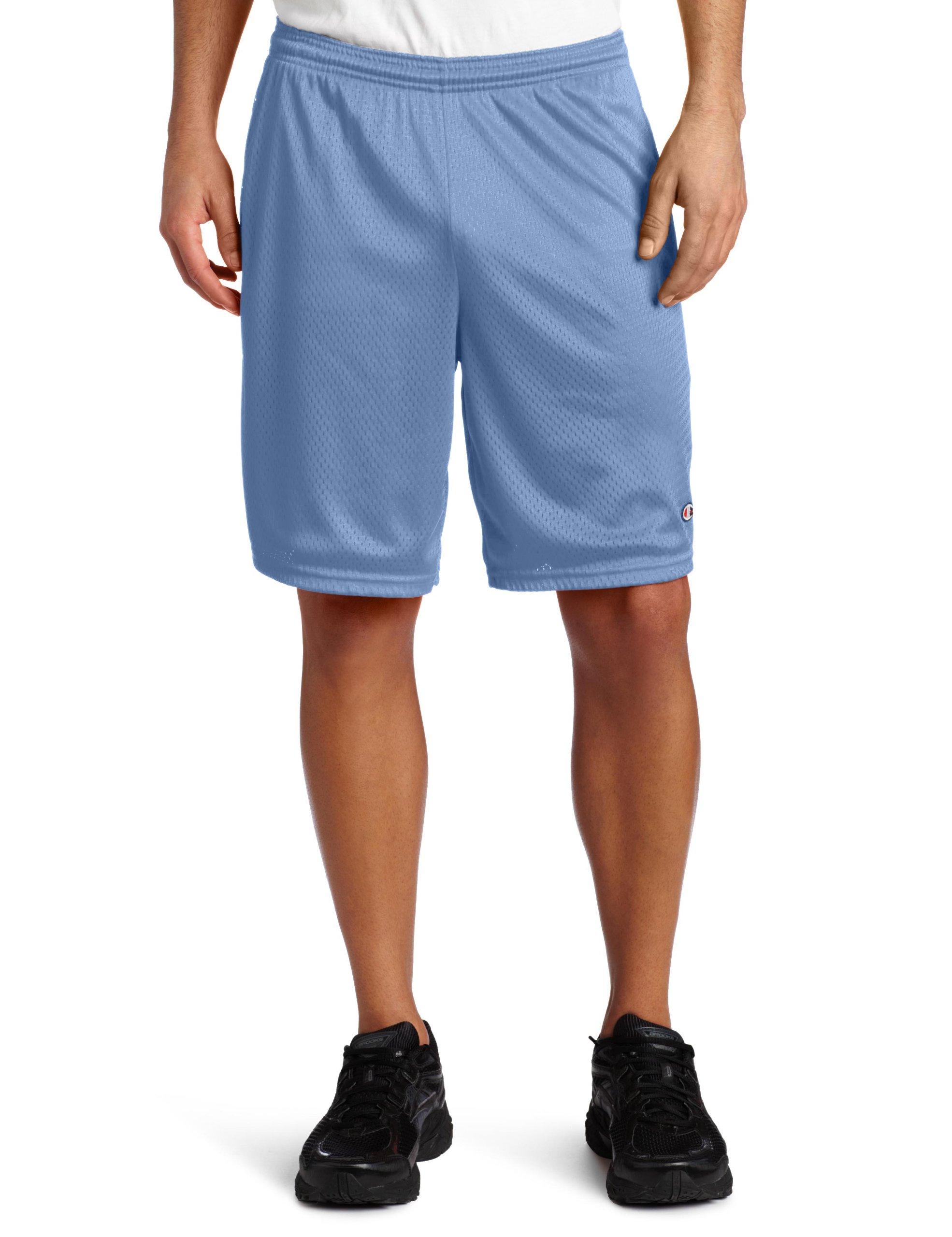 Champion Men's Long Mesh Short with Pockets,Light