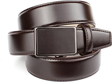 Anthoni Crown Leather Men`s Belt Dark Brown Automatic buckle