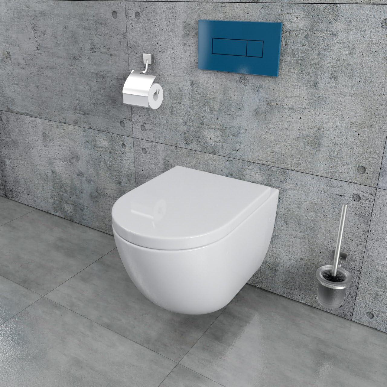 Wand Bidet inkl WC Sitz aus Duroplast mit Absenkautomatik Randlos Sp/ülrandlos KB76-1-set Randloses Design Keramik Wand H/änge WC Toilette