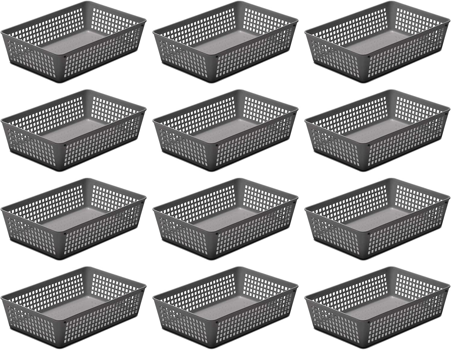 Ybmhome Plastic Colorful Storage Supply Basket for Office Drawer, Shelf Desktop, Home Junk Drawers, Kitchen Pantry Or Countertop - Bins Trays for Office Home and School Classrooms (12, Grey)
