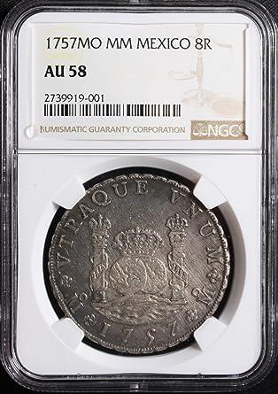 1757 MO Mexico 8 Reales Silver Coin Pillar AU 58 NGC