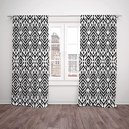 polyester window drapes kitchen curtains black and white monochrome rh amazon co uk