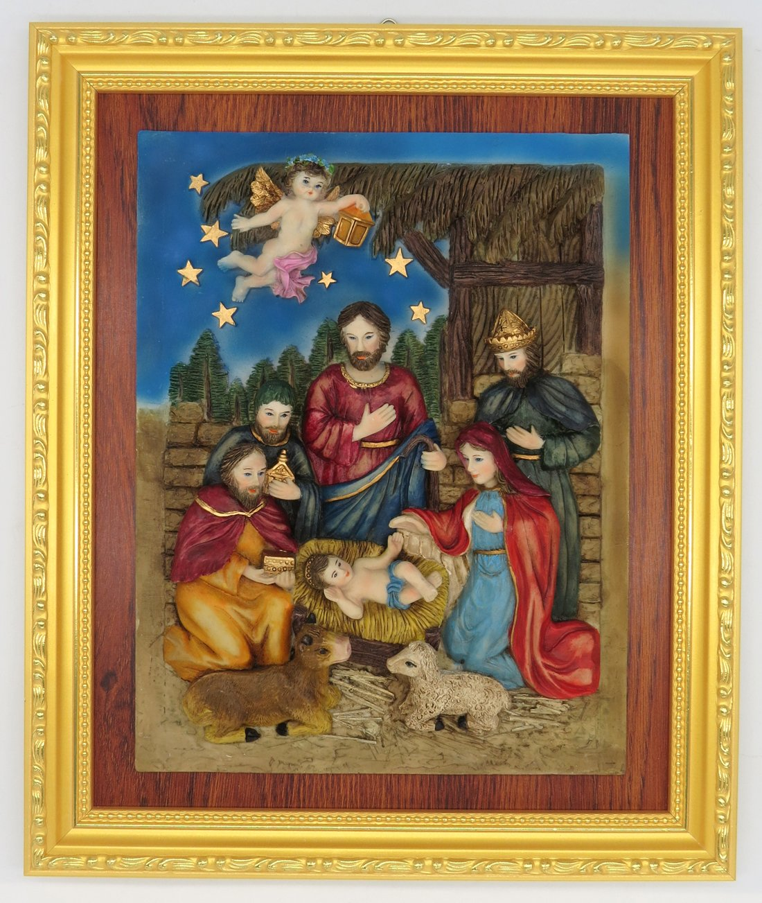 GGCI Hand Painted Resin Plate Décor Resin Cameo Sculpture Statue Figure and wooden frames Nativity
