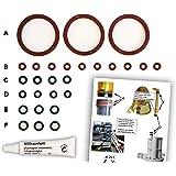 Dichtungen/Wartungsset (XL) für DeLonghi ESAM Thermoblock & Brüheinheit   O-Ringe   TOP Qualität (EPDM & VMQ)   Dichtungsringe inkl. Silikonfett und Bild-Übersicht (z.B. für ESAM 3000, 5500, 6600)
