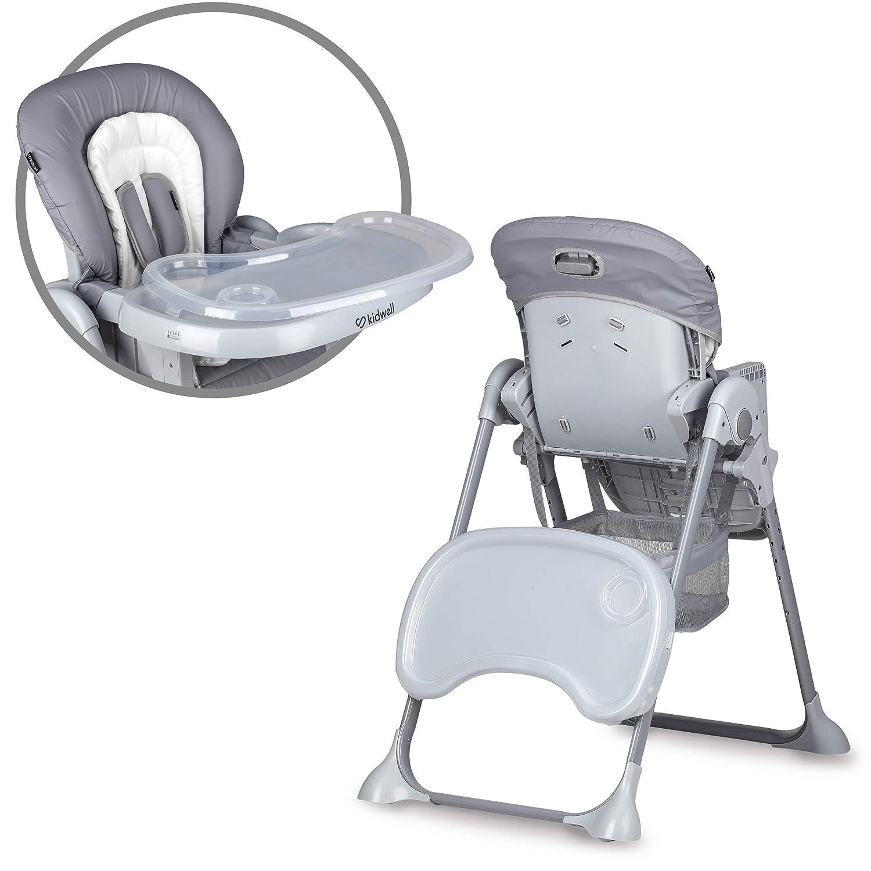 ab 3 bis 36 Monaten h/öhenverstellbar mit 3 Positionen R/ückenlehne zusammenklappbar 107 cm hoch Grau KIDWELL AMI Kinderhochstuhl mit Tablett zum F/üttern Belastung bis 15 kg