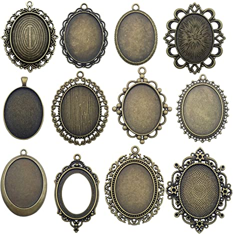 6 Sets Oval Blank Pendant Tray+30x40mm Glass Cabochons Bezel Setting Cameo Frame