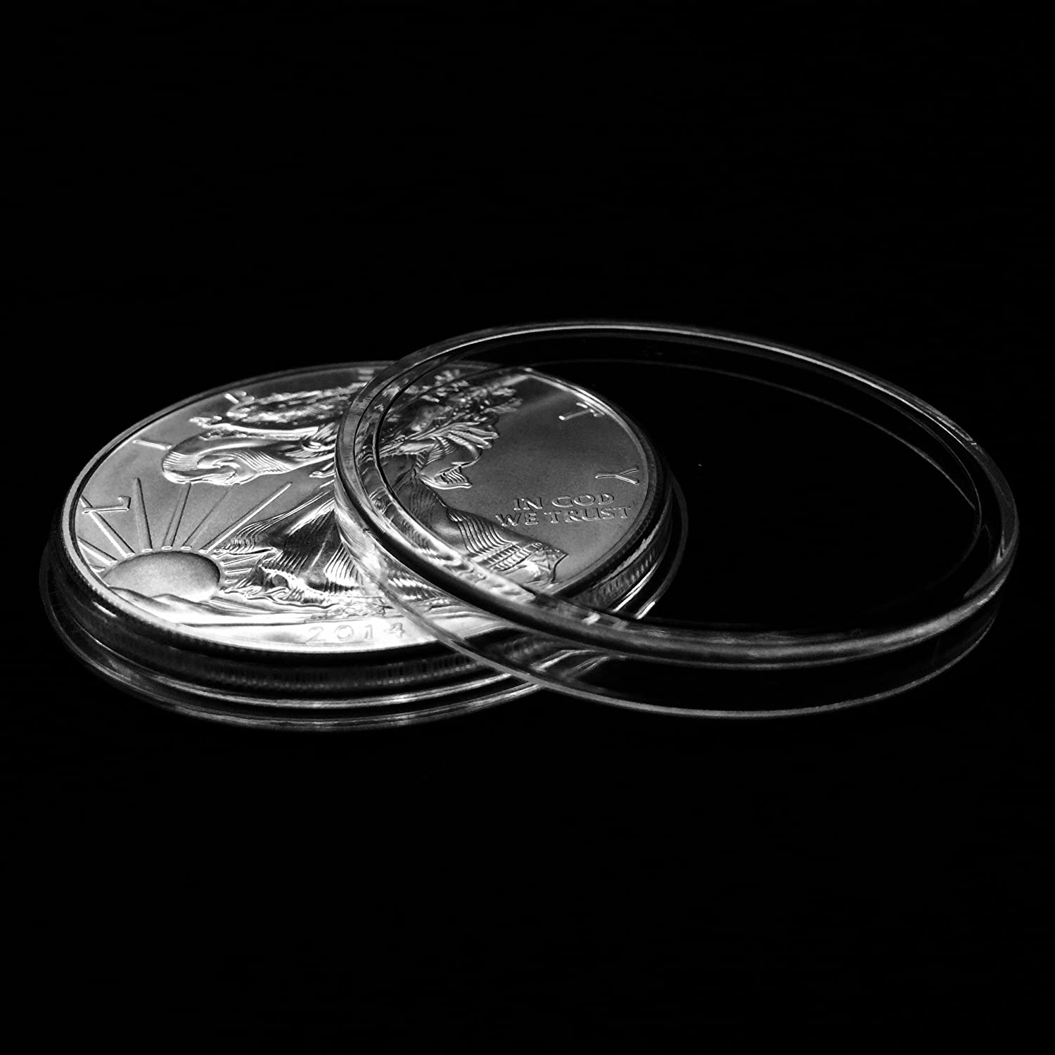 5 Air-tite 40mm Black Ring Coin Holder Capsules for American Silver Eagles /& 1oz China Silver Panda Sterling