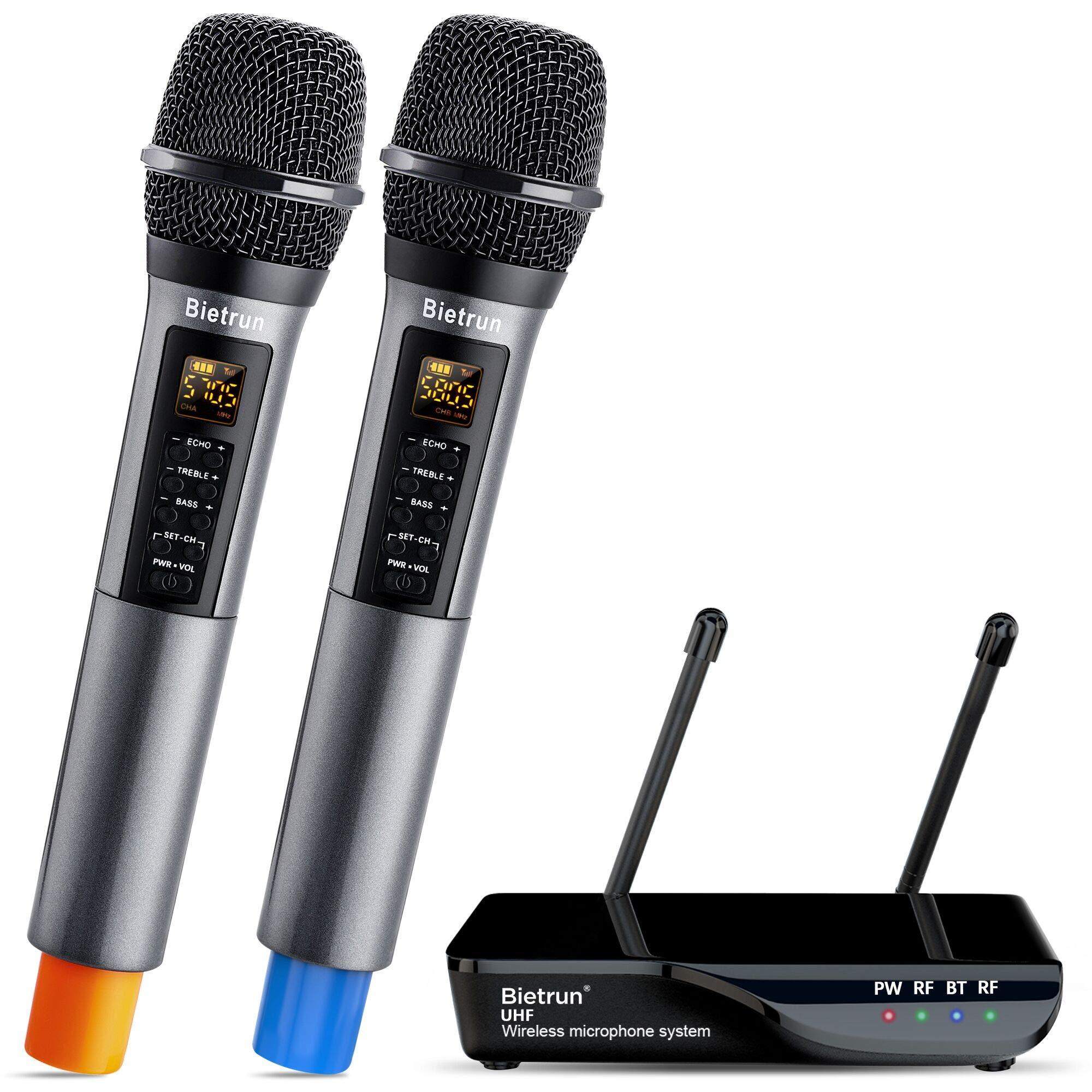 Wireless Microphone with Echo, Treble, Bass & Bluetooth, UHF Portable Dual Handheld Wireless Karaoke Dynamic Microphone System, 160 FT Range, for Karaoke Machine, Singing, Wedding, Amp, PA System