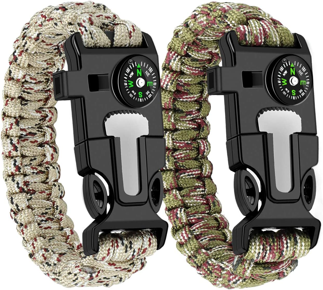 WUQID Paracord Survival Bracelet Loud Whistle Emergency Compass Survival Fire Starter Knife Accessories for Hiking, Camping, Fishing and Hunting (2 Pack)