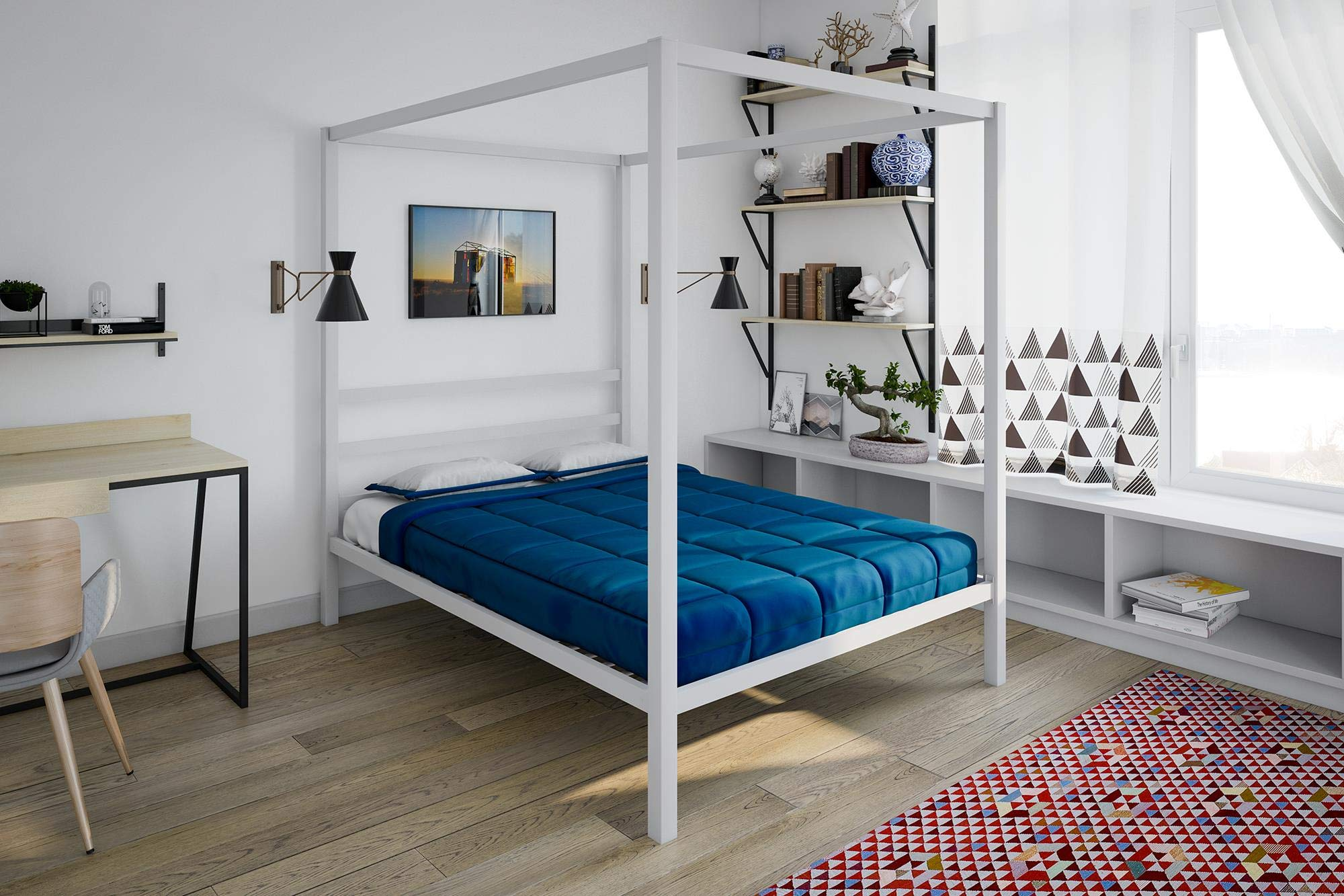 DHP Modern Metal Canopy Bed, Full, White by DHP