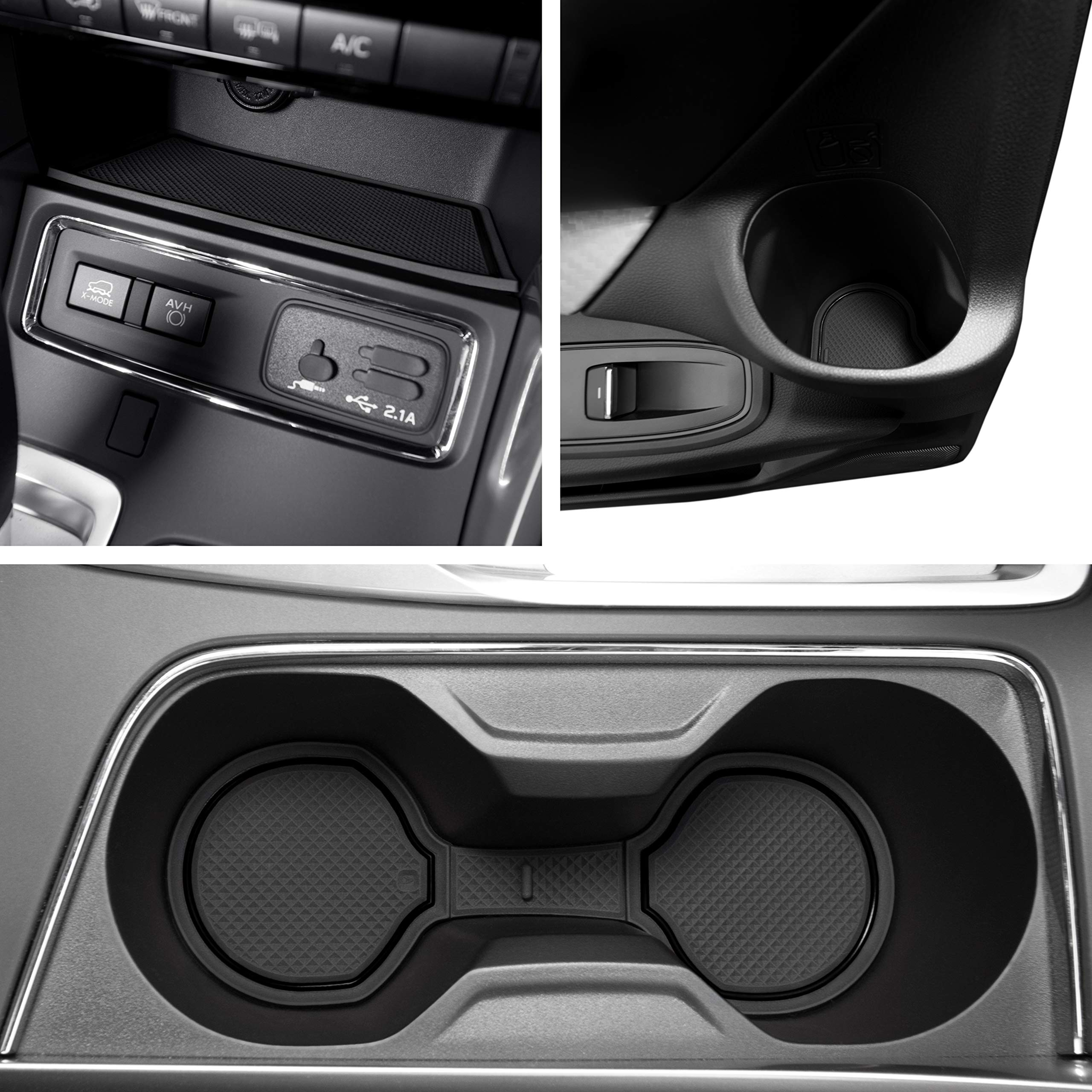 Custom Fit Cup, Door, and Console Liner Acessories for 2019 2020 Subaru Ascent 24 PC Set (Solid Black)
