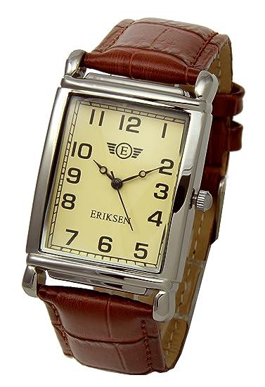 Eriksen Reloj de hombre rectangular con correa de piel MCS: Amazon.es: Relojes