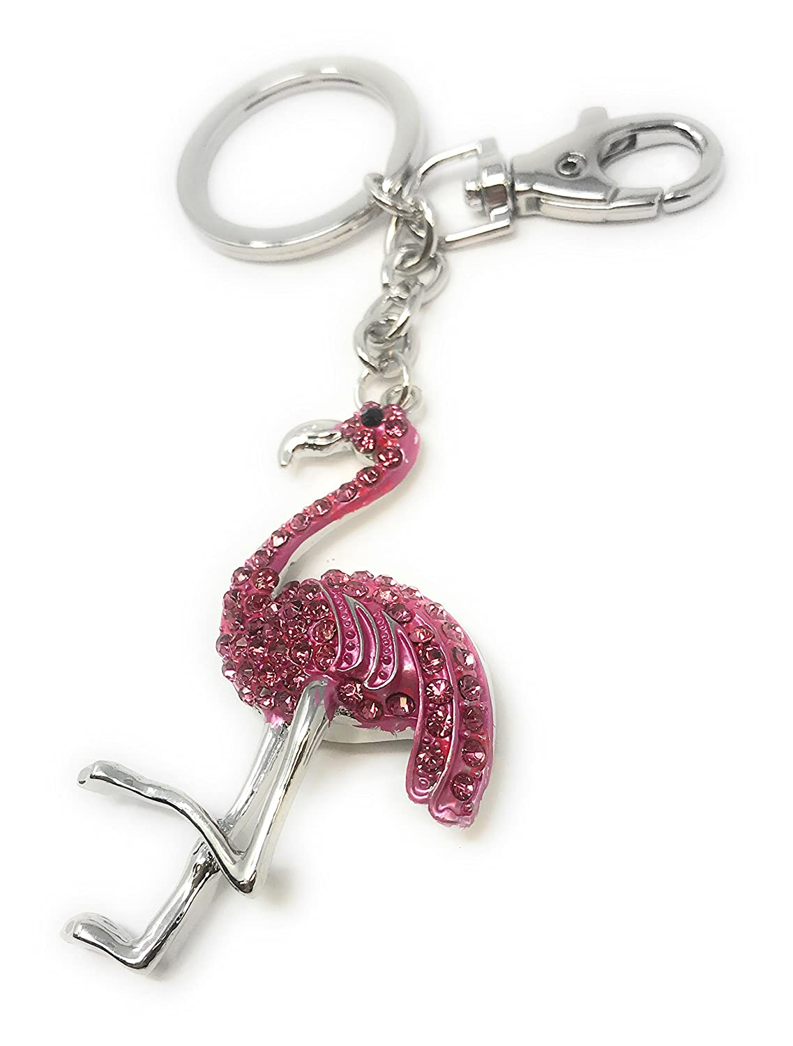 Covered in Pink Crystals Kubla Craft Flamingo Key Chain Purse Jewelry 5.5 Inches Long