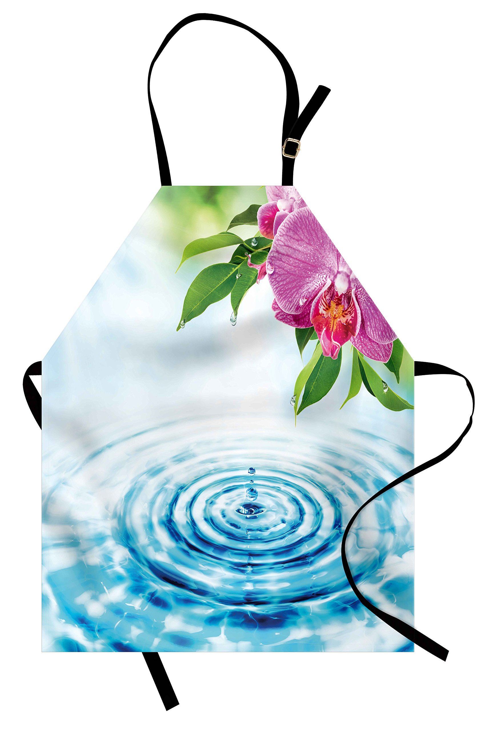 Lunarable Floral Apron, Natural Inspired Relaxation Orchid Petals down on Water Spa Meditation Zen Concept, Unisex Kitchen Bib Apron with Adjustable Neck for Cooking Baking Gardening, Multicolor