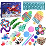 QASIMOF Adventskalender 2021 jul, barn, choklad, fidget leksak paket, fidgetset 24 st hängande prydnader…