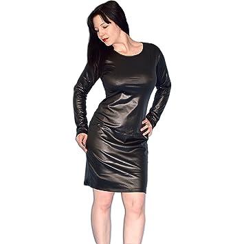 Black Leather Look Dress Size Xl Soft Hhiny Wet Look Mmni Dress