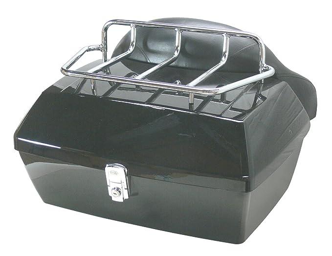 Baul rigido para moto custom de 48 litros de capacidad. Color negro brillo. Capacidad para un casco.
